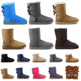 grey army boots NZ - Top Quality Fashion winter snow Boots Grey pinks red Black Chestnut two bow women shoes size 36-41 Classical booties indoor boot