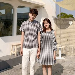 Wholesale spring t shirts for men for sale – custom New temperament couple s spring and summer lotus leaf sleeve off shoulder T shirt for men and women