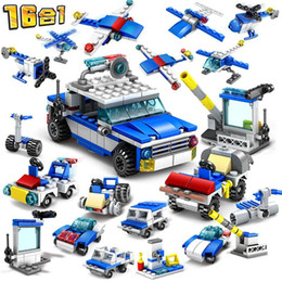 educational blocks robots 2021 - 16in1 Robot Aircraft Helicopter City Police Station Bricks Truck Car Building Blocks Educational DIY Toys for Boys Children 04