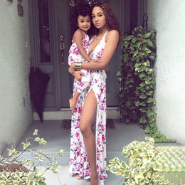 Family Matching Outfits European Sytle Flower Print Backless Mother Baby Daughter Matching Dress Floral Halter Parent-child Dress S464 on Sale