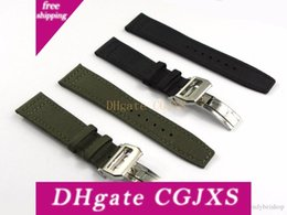 wrist watch buckle Canada - 20 21 22mmgreen Black Nylon Fabric Leather Band Wrist Watch Band Strap Belt 316l Stainless Steel Buckle Deployment Clasp