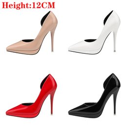 sexy nude womens dress UK - 12cm PU Leather Shallow Stilettos luxury designer women Sexy shoes Dress Party high heels Summer Classic womens Shoes