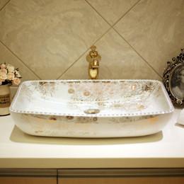 Toptan satış Sıcak Dikdörtgen şekil Avrupa tarzı çin lavabo lavabo Jingdezhen Sanat Sayaç Üst seramik banyo seramik lavabo lavabo