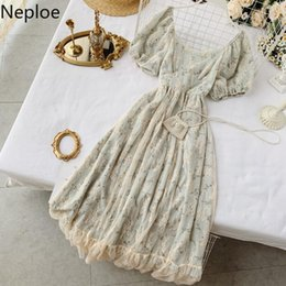 fairy style dresses NZ - Neploe French Elegant Fairy Dress Women 2020 Fashion Chic Summer Retro Maxi Long Lace Dress High Waist Floral Party Dress 1A1109 LJ200827