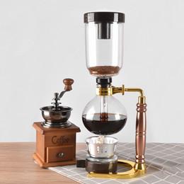 venda por atacado cafeteira New Home Style Sifão Sifão vácuo pot café tipo filtro da máquina máquina de café de vidro 3cup 5cup