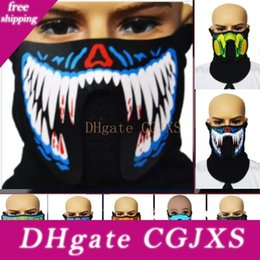 full face riding mask NZ - Half Face Mask Led Mask Clothing Big Dj Music Terror Light Up Mask For Dancing Night Riding Voice And Music Masquerade Hh9 -2329