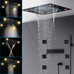 chrome thermostatic rain shower set Australia - Luxury Black Shower Head Set Thermostatic Mixer Modern Large 800x600mm Waterfall Rain Spray Shower Panel With 4 Inch Body Jets