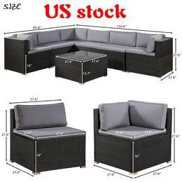 Корабль из США 3-5 дней Доставки 7 шт Патио мебель Набор Открытых Секционные Разговора Набора с мягкими подушками SH000027DAA на Распродаже