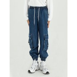 Wholesale skinny jeans cargo pants men resale online – designer Male Streetwear Hip Hop Vintage Fashion Loose Jean Trousers Men Casual Elastic Waist Ankle length Jeans Cargo Denim Pant