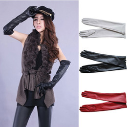 white leather gloves NZ - 1pair Sexy Women's PU Leather Elbow Long Gloves Winter Keep Warm Full Finger Mittens Glove Outdoors
