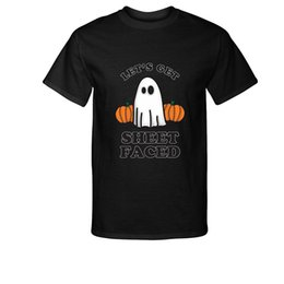 cooling sheets UK - 2019 New Summer Cool Tee Shirt Fashion Lets Get Sheet Faced Halloween Ghost Scared Pumpkin T-Shirt Cotton T-Shirt