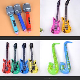 guitar microphones UK - instrument PVC guitar toy simulation toy recorder microphone PVC guitar m99hB Saxophone inflatable Inflatable simulation instrument sax sJx4O
