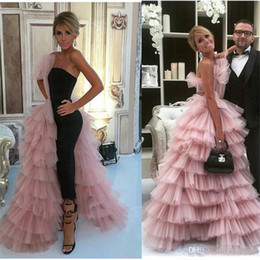 women wear dresses 2020 - New Fashion Jumpsuits Prom Dresses With Overskirt One Side Layered Tulle Skirt Celebrity Evening Gowns Women Formal Wear
