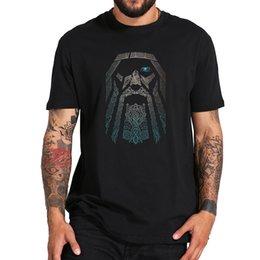 Wholesale odin god online – design Odin T Shirt Vikings Aesir God Nordic Mythology Cool Tee Shirt Digital Print Black Cotton T Shirt EU Size