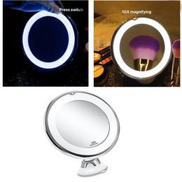 Großhandel 10X Vergrößerungs Makeup Rasierspiegel mit Beleuchtung, LED beleuchteter Kosmetik Vergrößerung Licht Make-up-Objektiv weiße Beleuchtung für Haus Tabletop