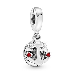 anchor bracelet sterling silver NZ - 2020 New Authentic 925 Sterling Silver Anchor and Hearts Dangle Charms Beads Pendant Fit Pandora Bracelets & Necklace for DIY Jewelry making