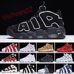 Nike Air More Uptempo scarpe Uptempo pallacanestro Scarpe Uomo Scottie Pippen Chicago bianco nero rosso di sport per i cestini delle donne Deisgners Sneakers Taglia N46 in Offerta