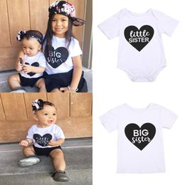 loved baby clothing Australia - Big little Sister Newborn Infant Baby Romper Kids Short Sleeve Tshirt Sisters Outfit Family Matching Clothes Sweet Love Tops