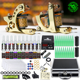 Complete Tattoo Kit 2 Machines Inks LCD Power Supply Needles Tips Set D3026 on Sale