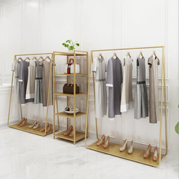 Wholesale Clothing store vertical clothes hanger Household bedroom iron hat rack floor booth simple clothing display rack