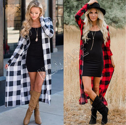 Wholesale oversized girl sweaters resale online - Women Long Cardigan autumn and winter fashion long sleeved plaid overalls sweater checked cardigan jacket Blouses Oversized Coat new D81206