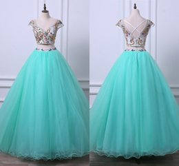unique colorful gowns Australia - Major Beading Colorful Crystals Prom Dresses 8th Grade Two Piece A-line Quinceanera Dress Sweetheart Unique Satin Backless Pageant Gowns