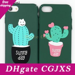 mobile phone cartoon back cover Australia - Cute Plant Cactus Mobile Phone Cases For Iphone 6 6s 7 8plus Matte Scrub Pc Cartoon Dirt -Resistant Half -Wrapped Case Back Cover