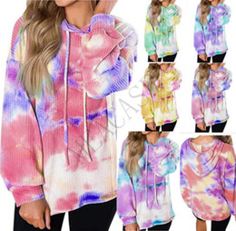 Wholesale check hoodie for sale - Group buy Women Hoodies Designer T shirt Autumn Hooded Sweater Long Sleeve Clothing Gradient Blouse Walf Checks Tie Dyed Sweatshirts Tops S XL D81102
