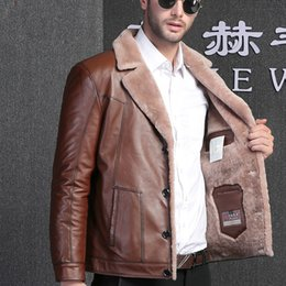 Wholesale wool leather jacket for sale - Group buy Genuine Leather Jacket Men Real Fur Coat Men Sheep Shearing Natural Wool Jacket Real Leather Jaqueta De Couro YY1148