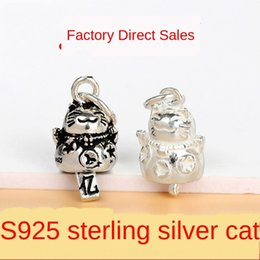silver bracelet bells Australia - S925 sterling silver lucky Diy pendant Thai silver Lucky Cat Bell pendant cute cat DIY bracelet necklace accessories kqi0S