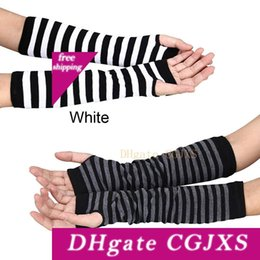cotton fingerless Canada - 2020 New Fashion Unisex Hand Long Gloves Stripe Pattern Knitted Wrist Arm Fingerless Winter Gloves Soft Keep Warm