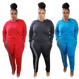 Wholesale bigger black for sale – custom Plus size X X X fall winter women bigger size two piece set black outfits long sleeve sweatshirt pants casual solid color tracksuit