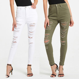 Wholesale womens white pants for sale - Group buy Women Skinny Jeans Green White Hole Ripped Casual Jeans Pants for Womens Clothing Vintage Washed High Waist Denim Trousers