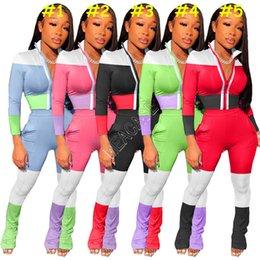 Wholesale stripe pajama for sale – plus size Women Reflective Stripe Patchwork Zipper Jacket Coat Outfits Color Block Legging Pants Tracksuit Long Sleeve Tops Trousers Suit D82007