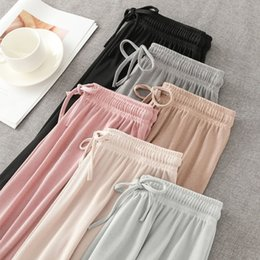 ice silk plus size Australia - Ice Silk Wide-Leg Long Pants Women Korean High Waist Straight Pants Casual Loose Office Lady Summer New Trousers Plus Size Slim CX200812