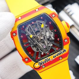 sport watches red dials 2021 - Top New NTPT Texture Carbon Fiber Case RM27-03 Skeleton Dial Miyota Automatic Mens Watch 27-03 Yellow Rubber Strap Sport Watches Hello_Watch