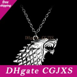 throne pendant NZ - Song Of Ice And Fire Necklace Game Of Thrones Pendant Necklaces Stark Wolf Necklace Antique Silver For Men