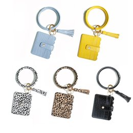 electronics usa Australia - European USA Hot Selling Keychains Coin Pocket Cards Pack Key Rings PU Leather Tassels Leppard Print