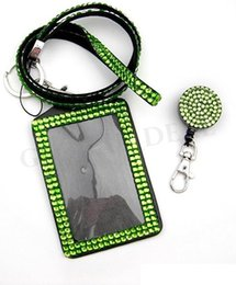 lanyard cell phone holder Australia - Rhinestone Bling Lanyard Retractable Crystal Diamond neck strap with ID Badge Holder and Key Chain fot iphone huawei cell Phone strap