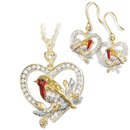 ring shaped earrings NZ - New Lovely Animal Bird Sparrow Heart-shaped Necklaces Set Hollow Love Red Women Pendants Alloy Crystal Gold Color Clavicle Ring and Earrings