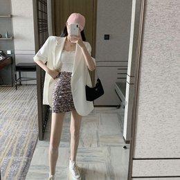 Wholesale korean casual tops design online – Beautiful Summer new fashion design sense thin suit coat women s Top Coat Korean style loose casual short sleeved top MYDL5
