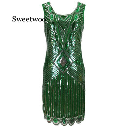 Wholesale flapper dresses 1920s for sale - Group buy Women s Gatsby Sequin Art Deco Scalloped Hem Inspired Flapper Dress Vintage O neck Sleeveless Hollow Out Back Party Dress