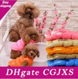 Wholesale dhl cotton jacket resale online - Dog Clothes Winter Casual Puppy Vest Warm Cotton Dog Clothing Down Jacket Winter Pet Apparel Dhl Free Colors Yw285