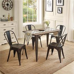 Vintage europäische amerikanische Massivholz-Metall-Speisen-Sets U-Style 5-Stücke, 1 Tisch mit 4 Stühlen Küchenmöbel SL000024DAA im Angebot