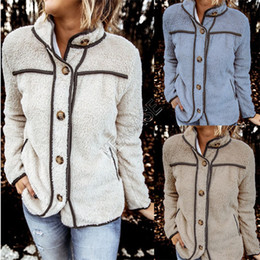 Wholesale trendy outerwear for sale – winter Women Sherpa Fleece Jacket Coat Pannlled Button Patchwork Jackets Trendy Stand Collar Coats Warm Winter Hoodies Windbreaker Outerwear D82602