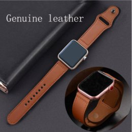 Wholesale apple leather loop resale online - Genuine Leather Apple watch band loop mm mm Watchband for iWatch mm mm Bracelet Accessories