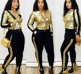 silver pant suits women NZ - Autumn Winter Sequin 2 Piece Set Women Tracksuit Long Sleeve Jacket Top Pants Suit Streetwear Sparkly Matching Sets Club Outfits