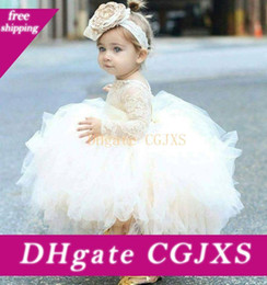 vintage baby clothes UK - 2019 Vintage Lovely Ivory Baby Infant Toddler Baptism Clothes Flower Girl Dresses With Long Sleeves Lace Sheer Neck Tutu Ball Gowns Cheap