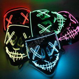 Máscaras luminosa cara por D81805 Máscaras de Halloween diseñadores LED brilla máscara del horror de purga de la cubierta de la cara INS DJ del partido del traje de Light Up Resplandor en la oscuridad en venta