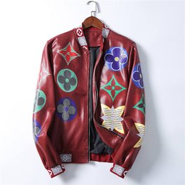 Wholesale men faux coat for sale - Group buy 20ss Men Jackets Faux Leather Bees Barocco Floral Print Designers Windbreaker Mens V Neck Slim Zipper Hooded jacket Winter Outerwear Coats